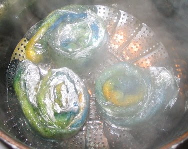 Steaming away in the dye pot.