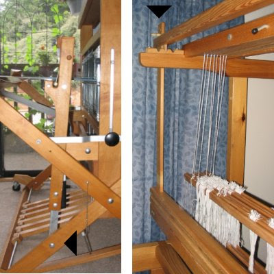 Beaters on the jack loom (left) & the countermarche (right).