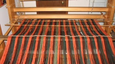 My warp is spread out on the loom.