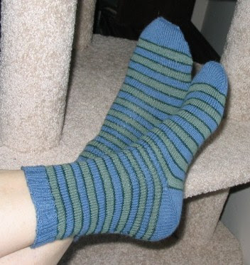 Completed pair of my latest toe up socks.