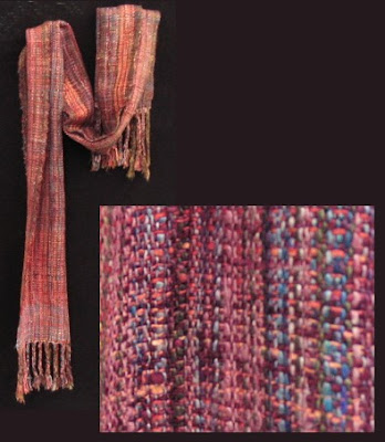 Silk scarf handwoven by Eva Thatcher.