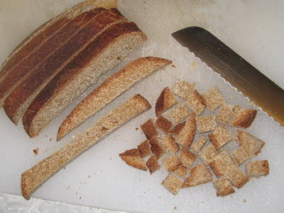 Sourdough bread crusts saved for croutons