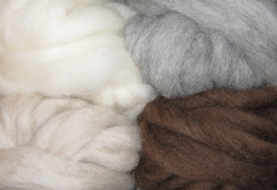 4 samples of Shetland rovings in different colors.