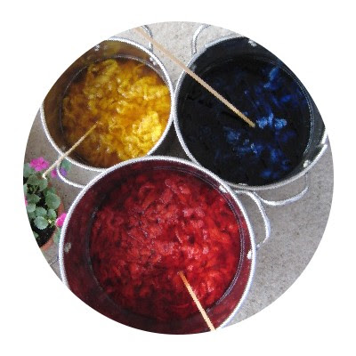 Red, yellow, & blue in the dyepots.
