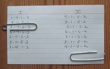 Keeping track of treadling with an index card & a paper clip.