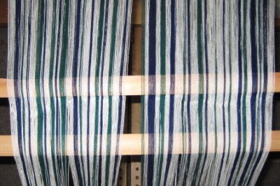 The warp for the barcode striped towels.