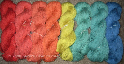 Handspun Procion MX dyed cotton lint