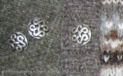 Celtic knot style buttons need to be sewn on.