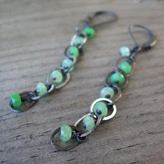 dangly chrysoprase earrings