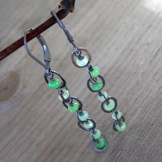 oxidized chrysoprase earrings