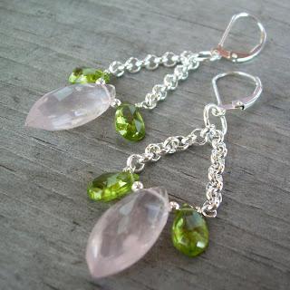 pink green earrings