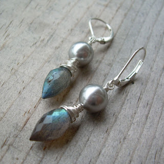 labradorite pearl earrings