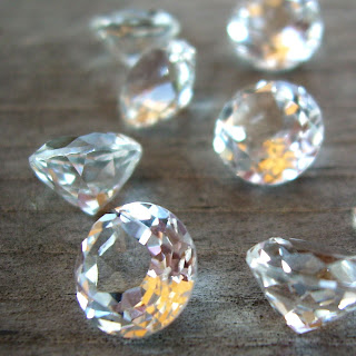 faceted white topaz