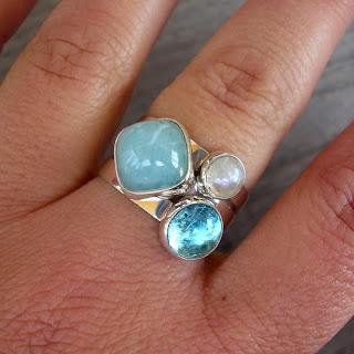 aquamarine stacking rings