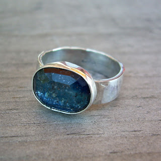 faceted kyanite ring