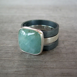 cloudy aquamarine ring