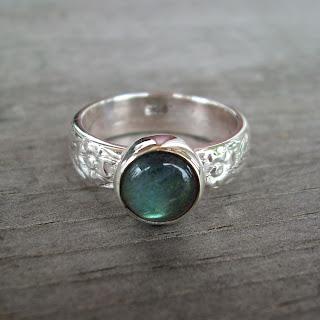 labradorite floral ring