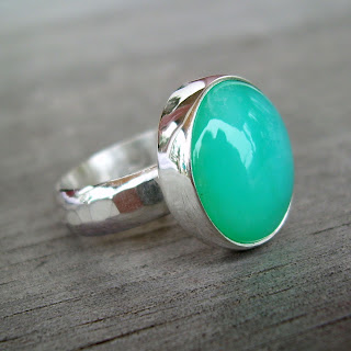 peruvian blue opal ring