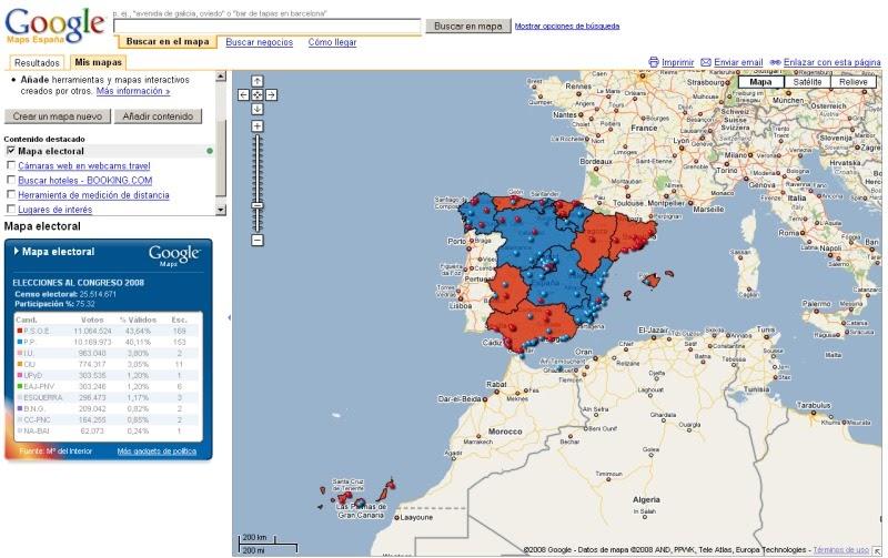 Geom tica educativa resultados electorales en google maps for Resultados elecciones ministerio interior