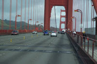 A view of going over the Golden Gate Bridge from San Francisco to Marin County from inside the Marin AirPorter bus.