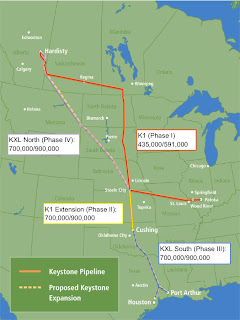 TransCanada Keystone Pipeline routes and capacities