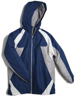 Child jacket with drawstrings in hood