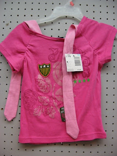 Ties at the neckline of a child's t-shirt
