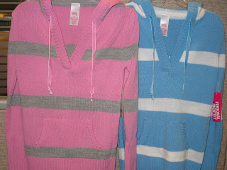 Knotted neck ties on a child's sweater