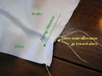 Sew a side seam from waist to sleeve hem