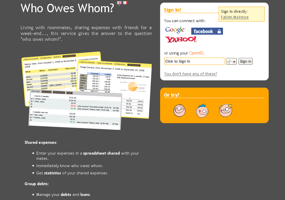 Version 1.0.2 of who owes who
