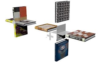 Bookshelves made from books