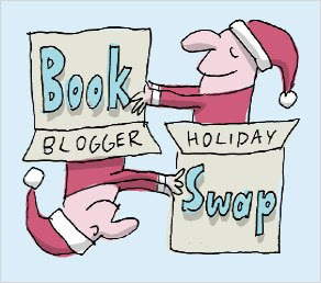 book blogger holiday swap logo santa hats