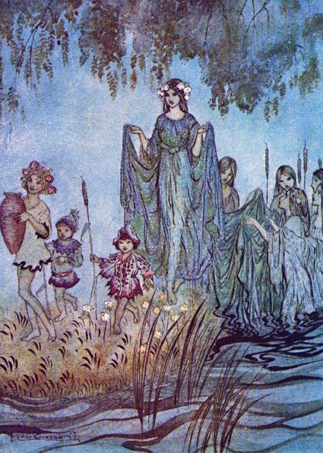 Die Elbenkönigin mit ihren Gefolge