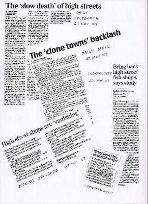 a selection of newspaper cuttings on the death of the high street