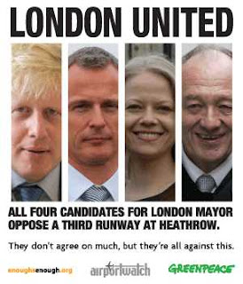 poster - all four candidates for London mayor oppose a third runway at Heathrow
