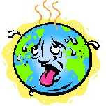 a cartoon of the planet as an overheated human face