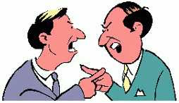 two men arguing with pointy fingers
