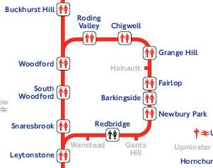the Redbridge section of the Toilet Tube map