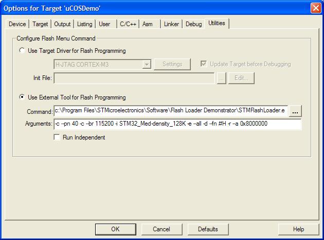 ewLABZ: Keil: auto HEX download to STM32 ARM using ST Flash