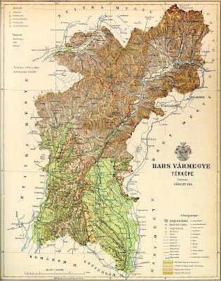 Mapy Uhorska A Slovenska Tekovsk 225 župa 1910