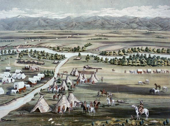 A lithograph of the Denver City mining camp in 1859.