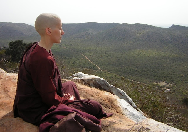 Ayya Medhanandi meditating at Vulture's Peak
