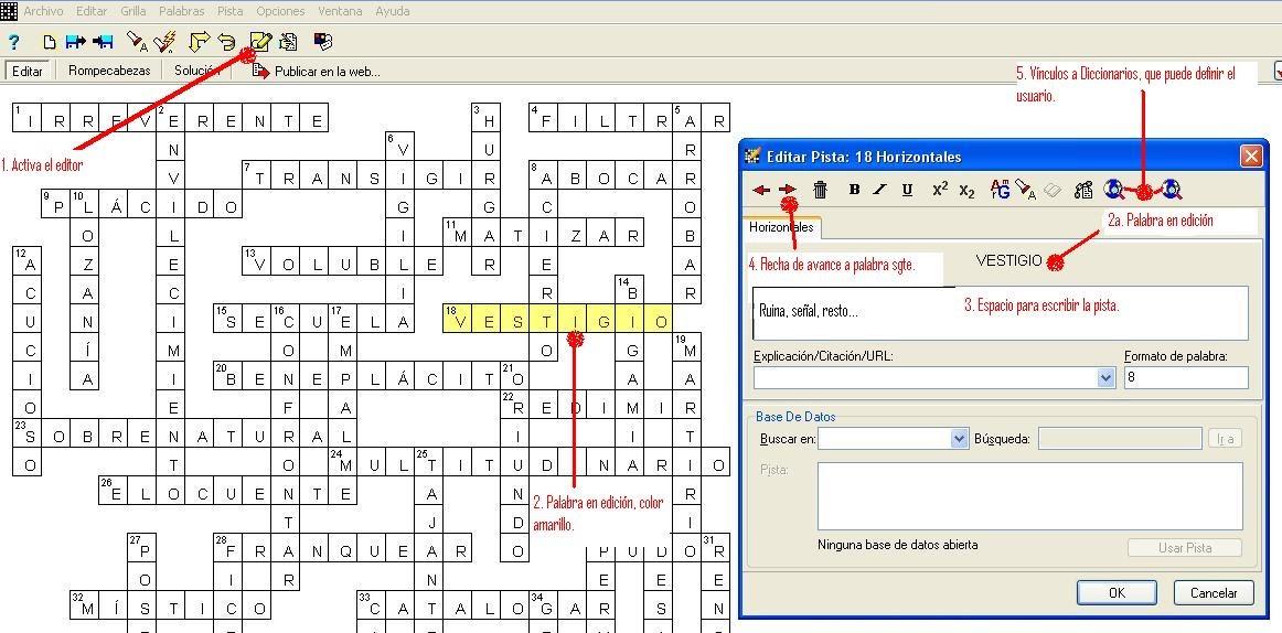 Compilador de Crucigrama - 4 - Edición de Pista   LA ODISEA