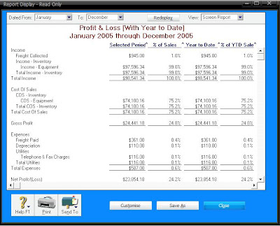 how to create a profit and loss statement in myob