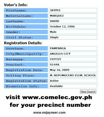 2010 Philippine Elections, Automated Elections, How to know your precint number, Finding out my precint number, Verification of school and precint number for the elections, COMELEC