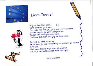 Verwonderlijk PME neemt afscheid van Jannien: Een gedicht... FA-14
