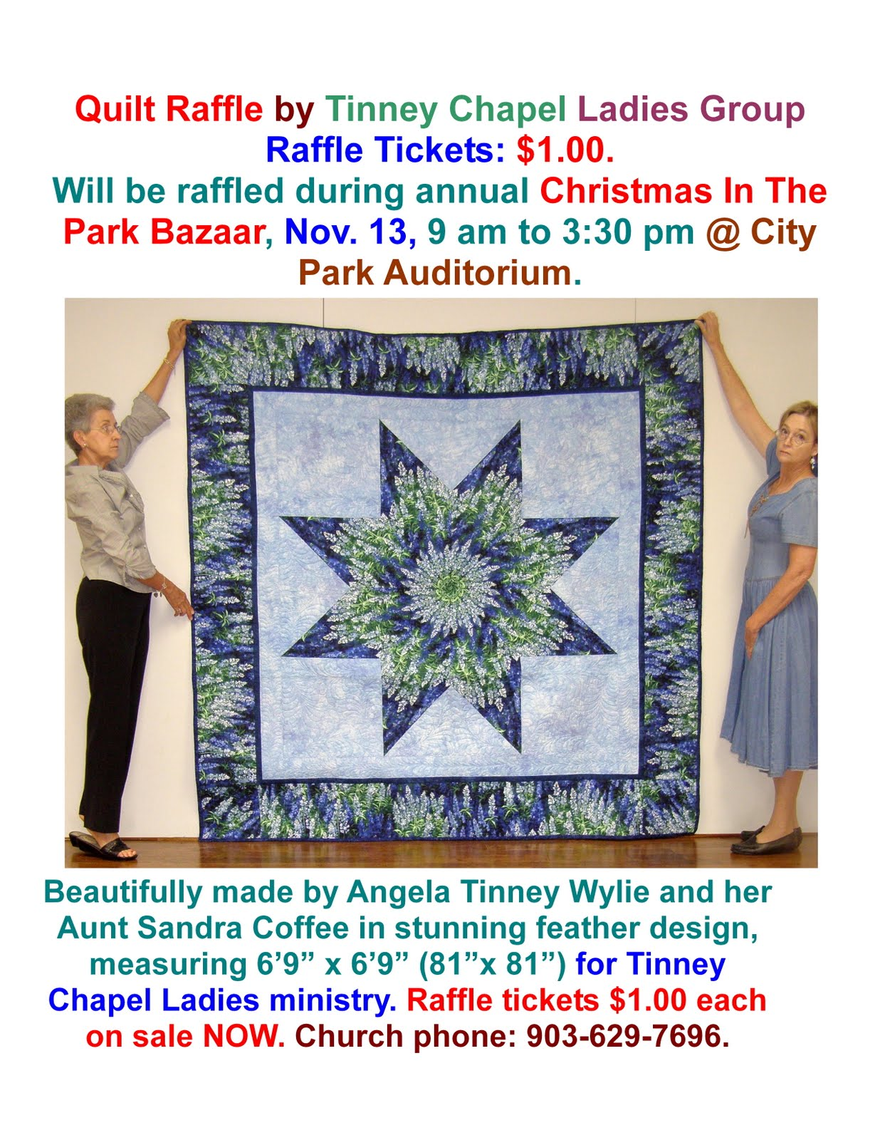 Tinney Chapel Today: Quilt Raffle by Tinney Chapel Ladies Group