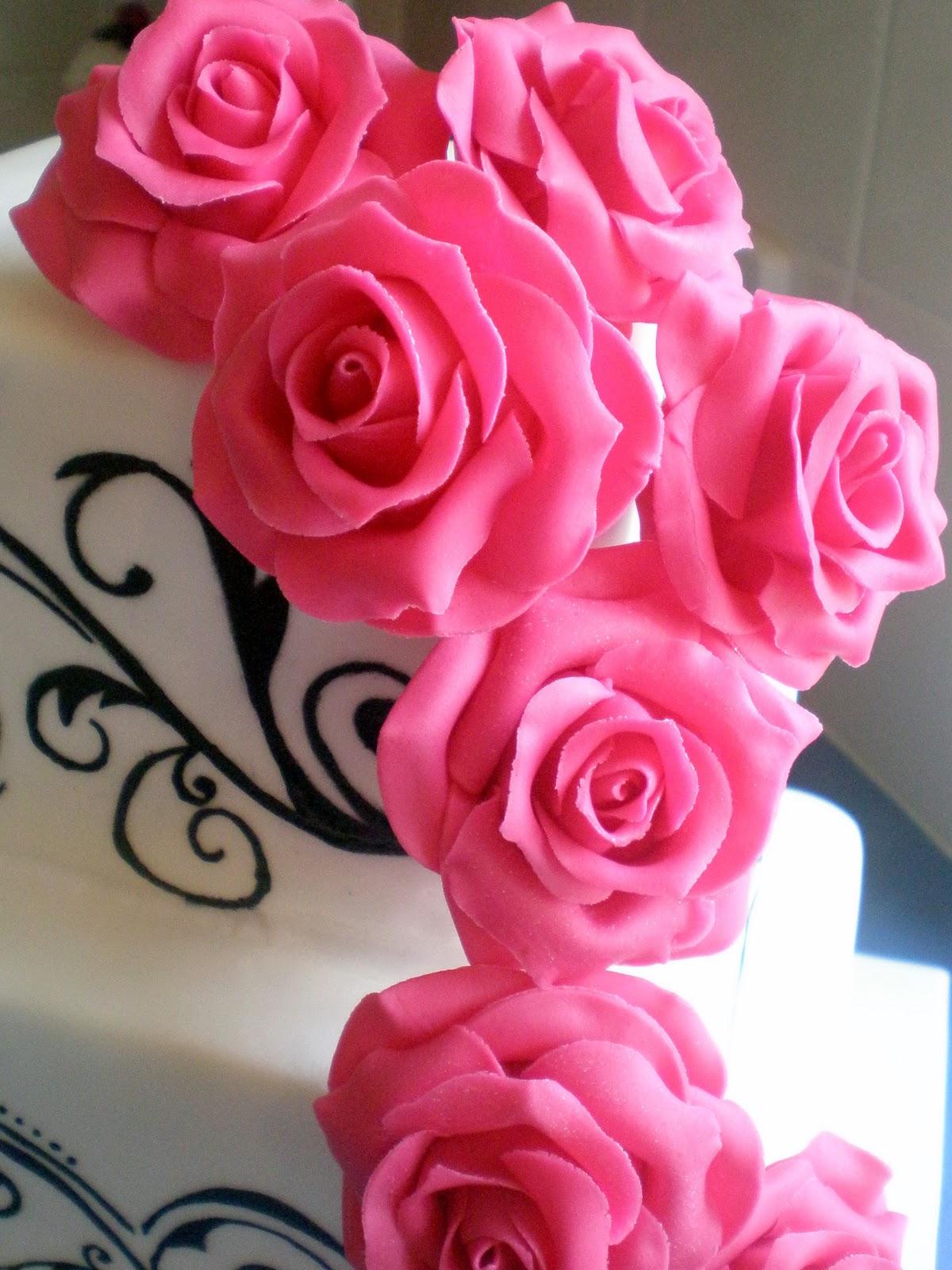 Sugar Siren Cakes Mackay Hot Pink Roses  Vines Wedding Cake-1400