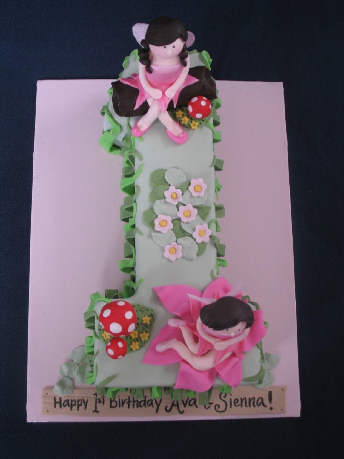 Blissfully Sweet 1 Enchanted Fairy Garden Birthday Cake