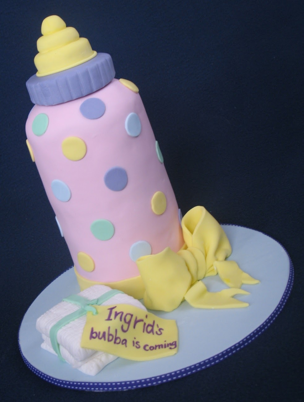 Blissfully Sweet Giant Baby Bottle Baby Shower Cake